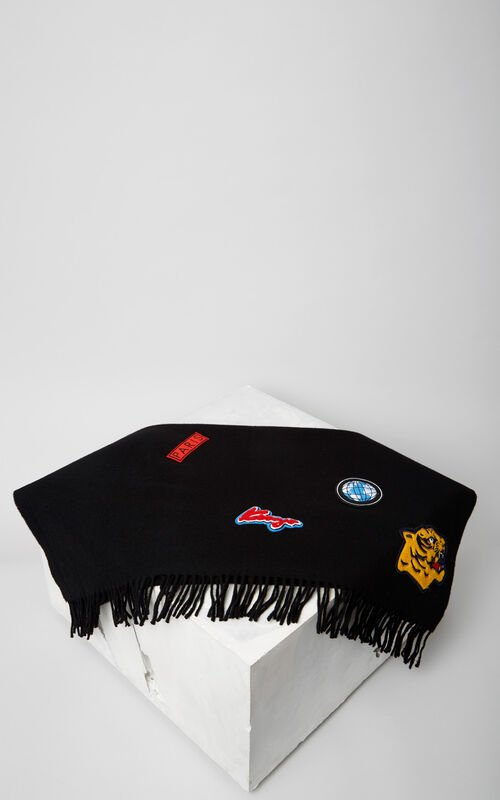BLACK 'Varsity' Scarf for women KENZO
