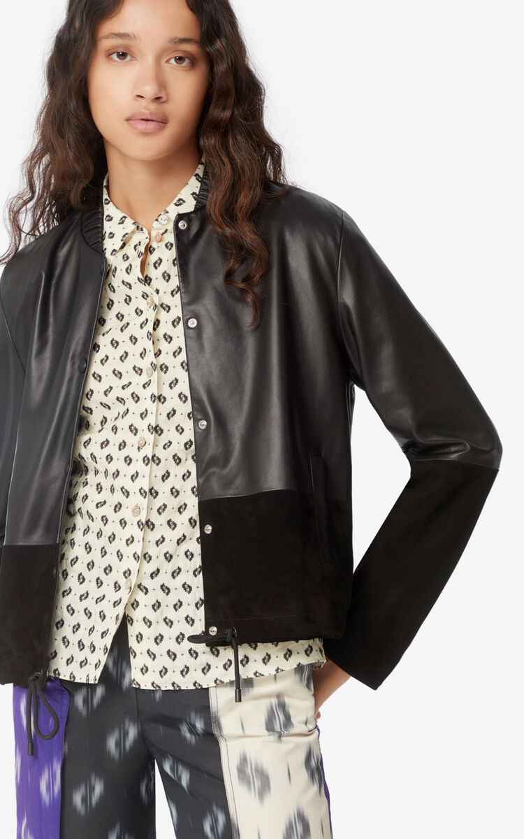 BLACK Dual-material leather jacket for women KENZO