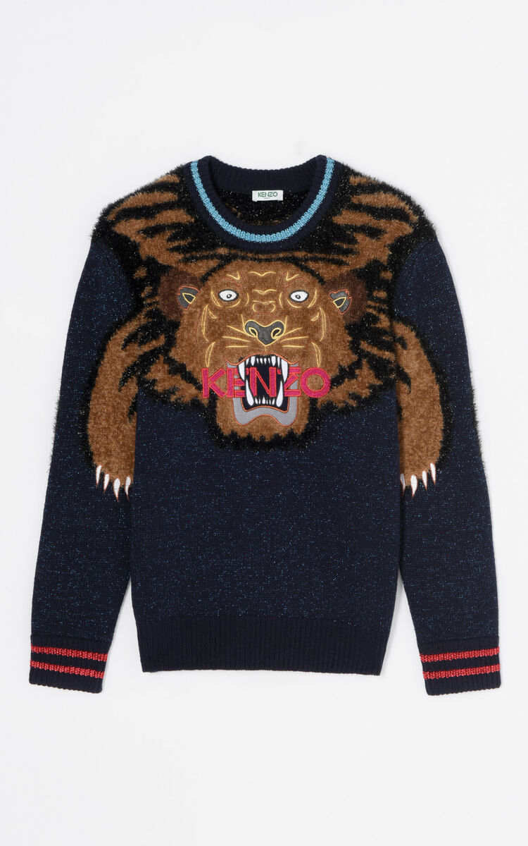 BRIGHT PURPLE 'Holiday Capsule Collection' embroidered Tiger wool jumper for women KENZO