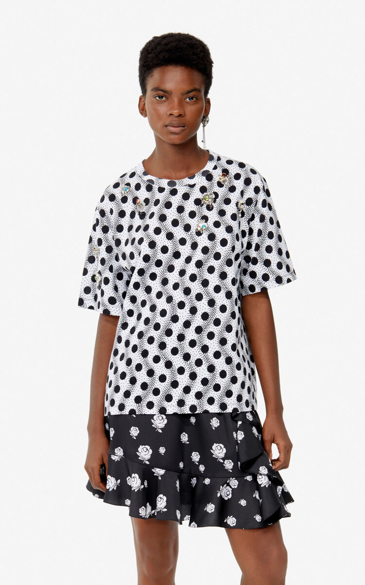 WHITE 'Wave Polka' t-shirt for women KENZO