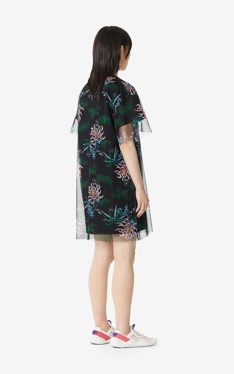 BLACK 'Sea Lily' dual-material dress for women KENZO