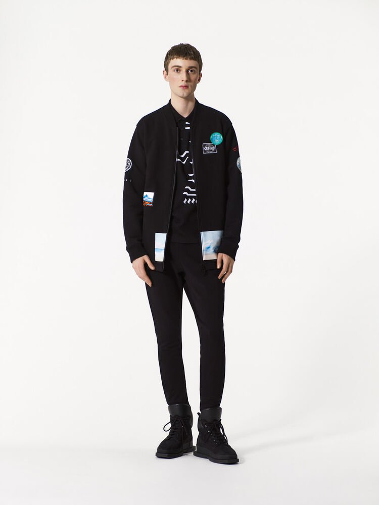 BLACK Badged Elongated Bomber for men KENZO