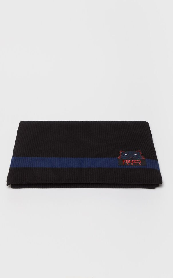 MIDNIGHT BLUE Tiger wool scarf 'Holiday Capsule' for men KENZO