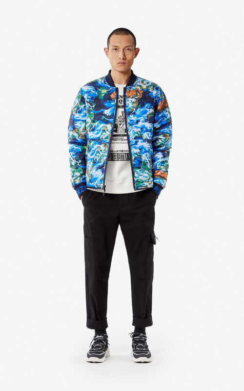 NAVY BLUE Reversible 'KENZO World' puffer jacket for men
