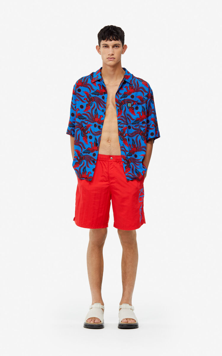 MEDIUM RED KENZO Logo swim trunks for men