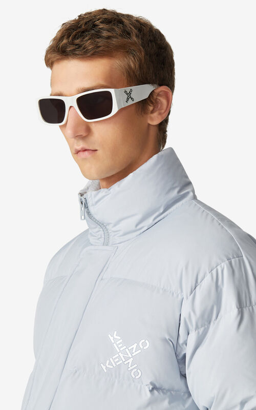 PALE GREY KENZO Sport 'Little X' puffer jacket for men
