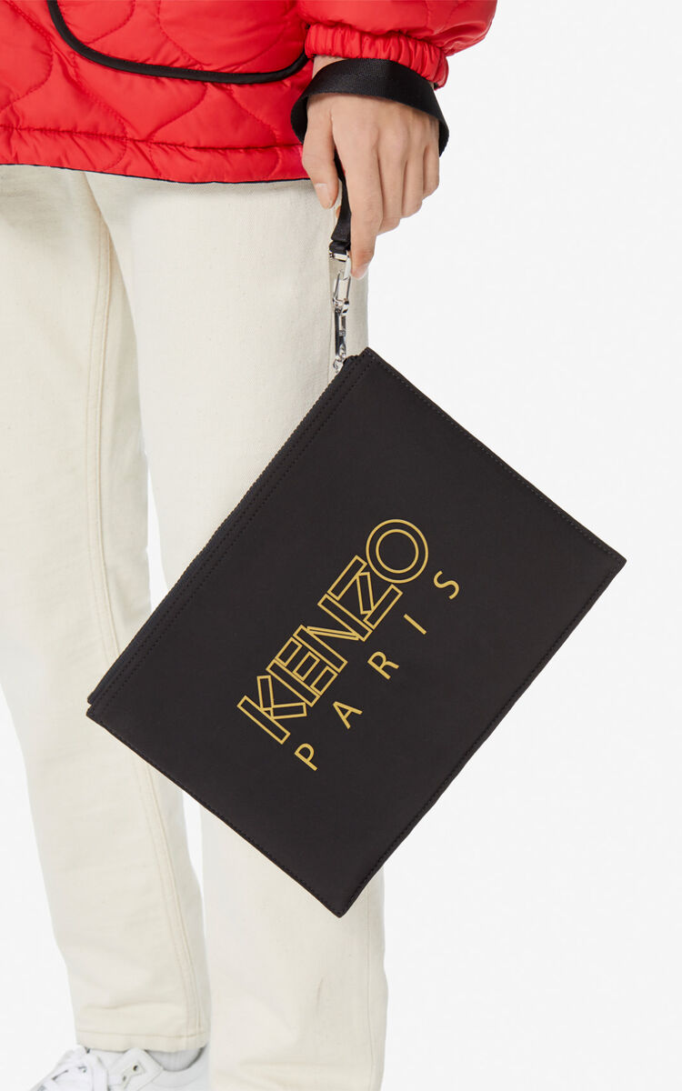 BLACK 'Chinese New Year Capsule' Tiger A4 clutch for women KENZO