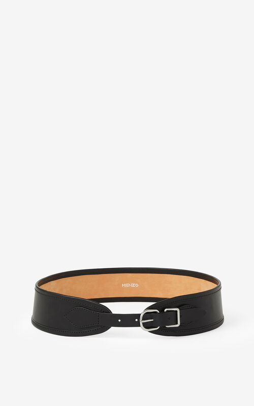 BLACK Leather belt for unisex KENZO
