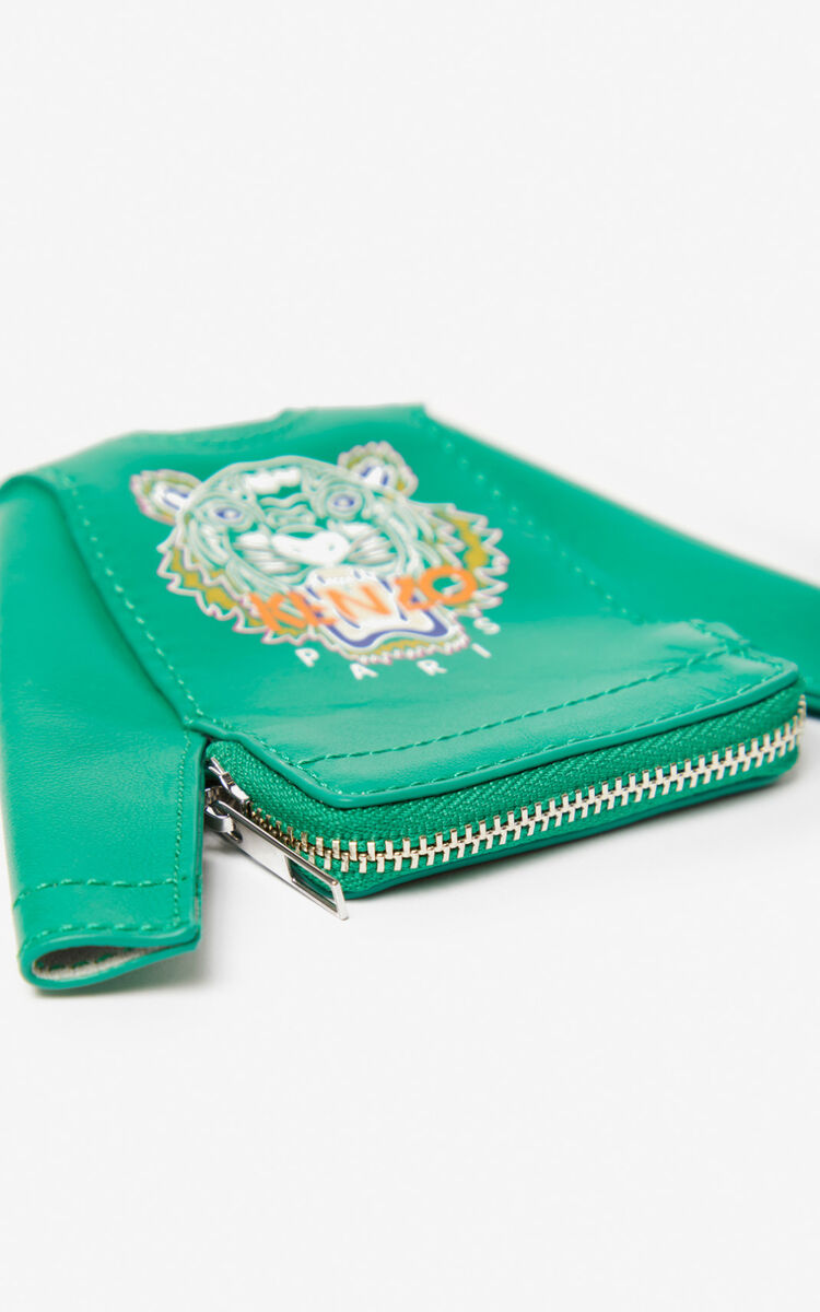 GRASS GREEN Tiger sweatshirt coin purse for unisex KENZO