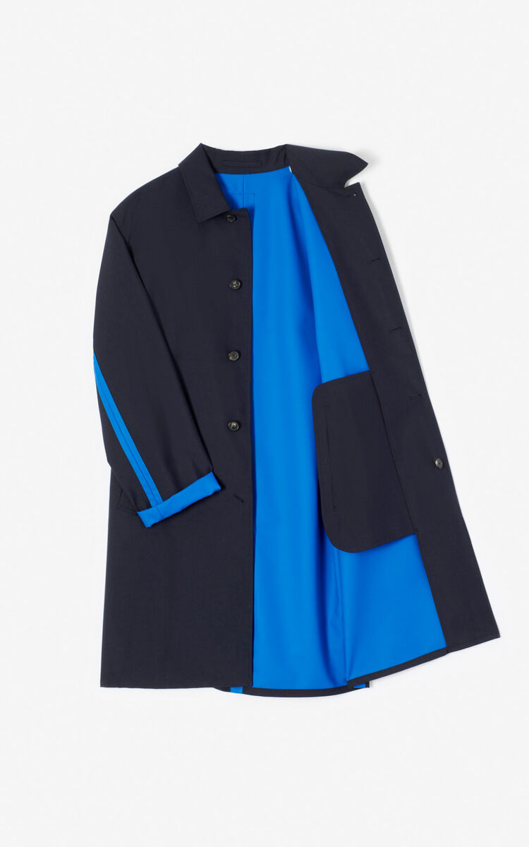MIDNIGHT BLUE Two-tone trench coat for men KENZO