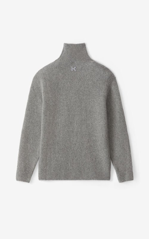 DOVE GREY Recycled cashmere funnel neck jumper for unisex KENZO