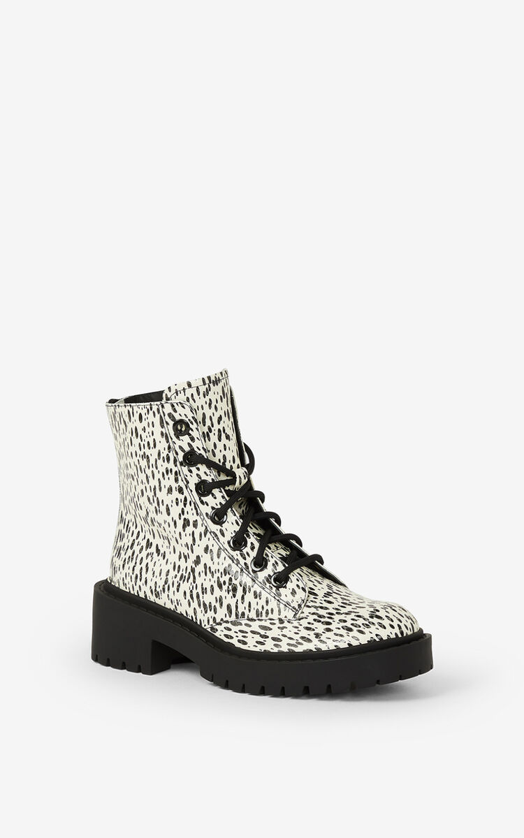ECRU Lace-up Pike 'Leopard' leather ankle boots for women KENZO