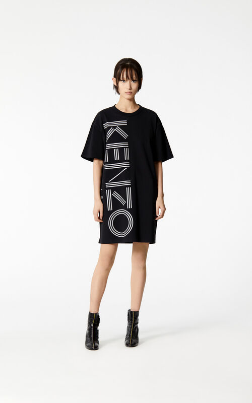 BLACK KENZO Logo t-shirt dress for women