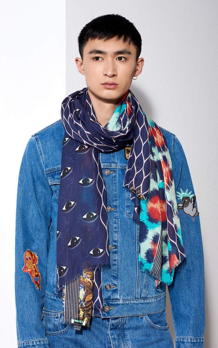 MIDNIGHT BLUE Multiprint Scarf for unisex KENZO