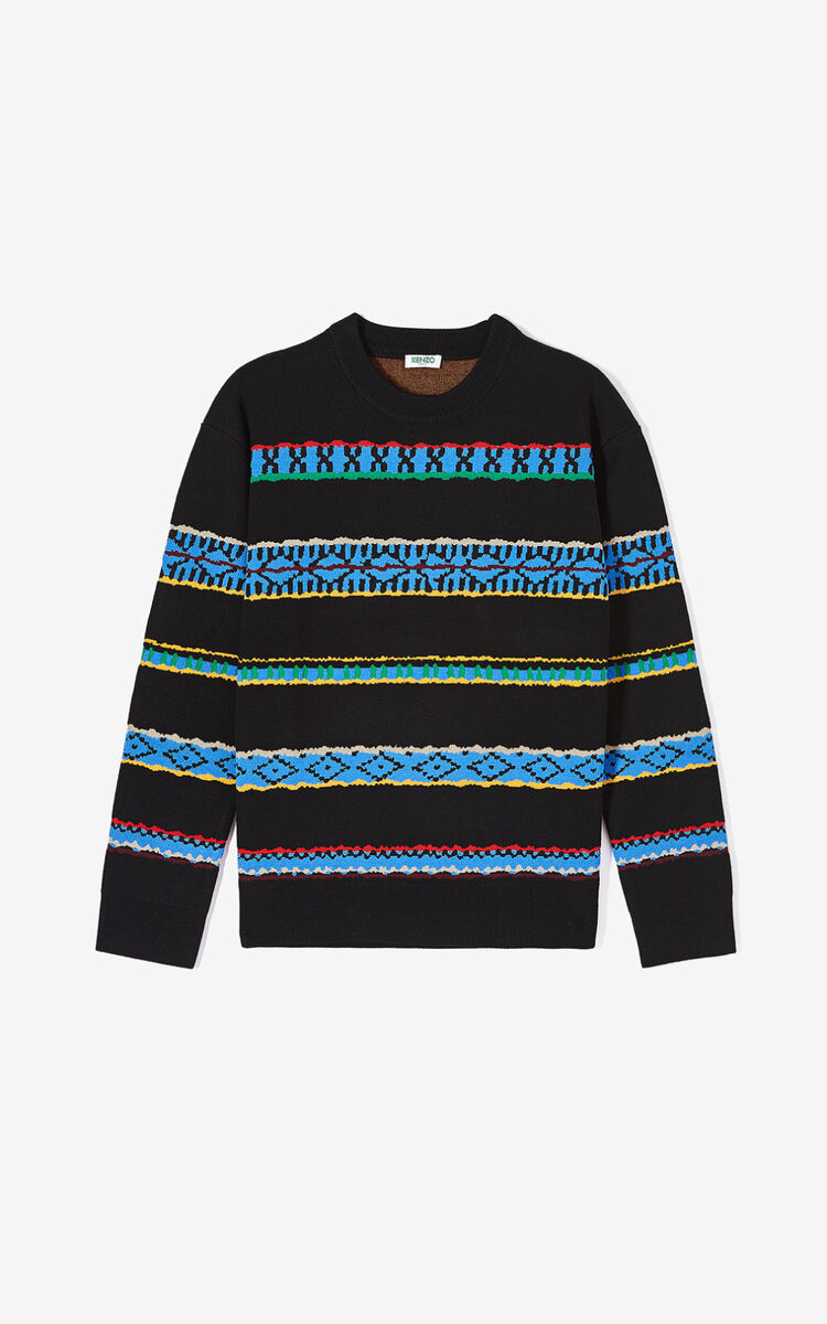 BLACK 'Peruvian Stripes' jumper for women KENZO