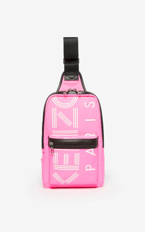 DEEP FUSCHIA 'Crew' KENZO logo cross-body bag for unisex