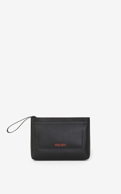 BLACK KENZO Cadet gusseted leather clutch  for unisex