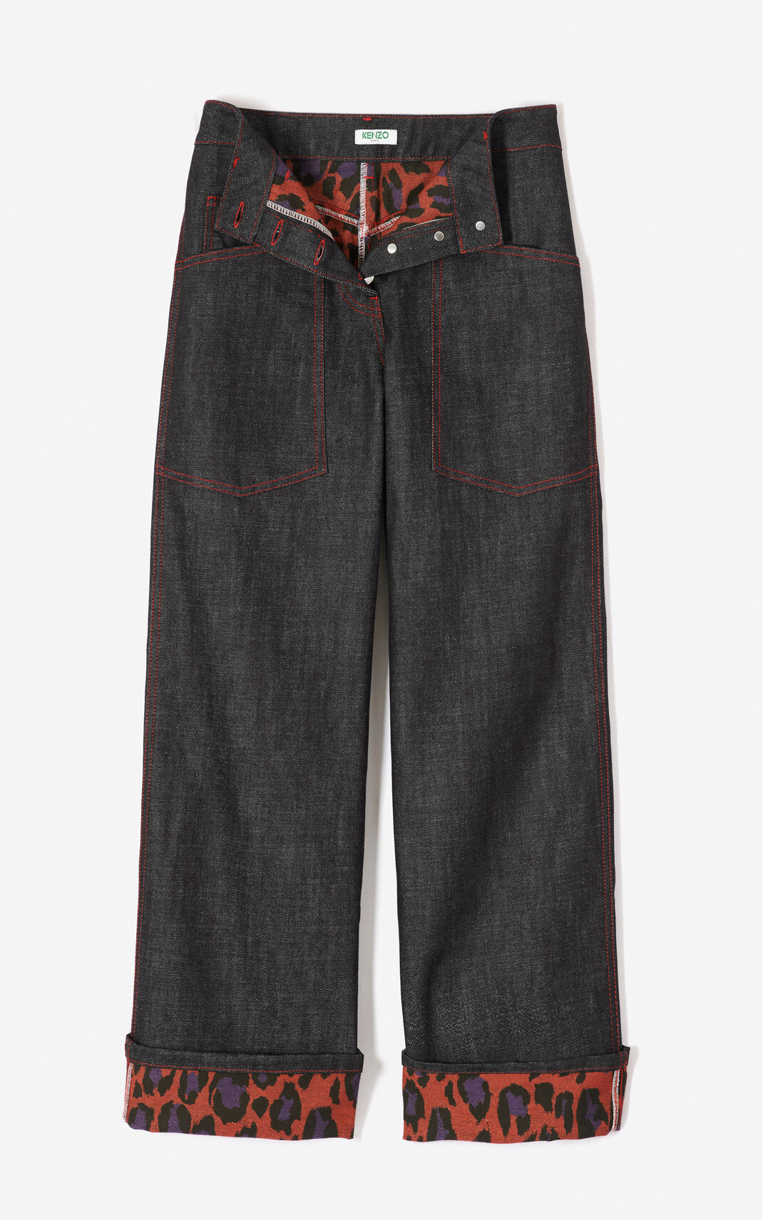 MEDIUM RED 'Leopard' jeans with cuffs for women KENZO