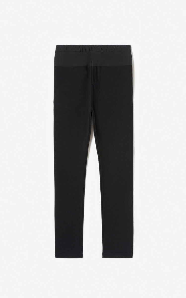 BLACK Bimaterial jogging trousers for women KENZO
