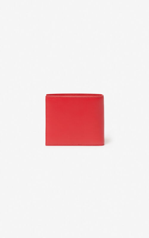 MEDIUM RED 'Square Logo' leather wallet for unisex KENZO