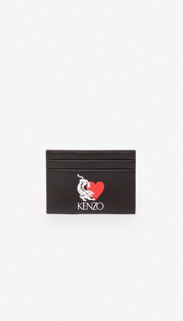 BLACK 'Lucky Tiger' leather cardholder for women KENZO