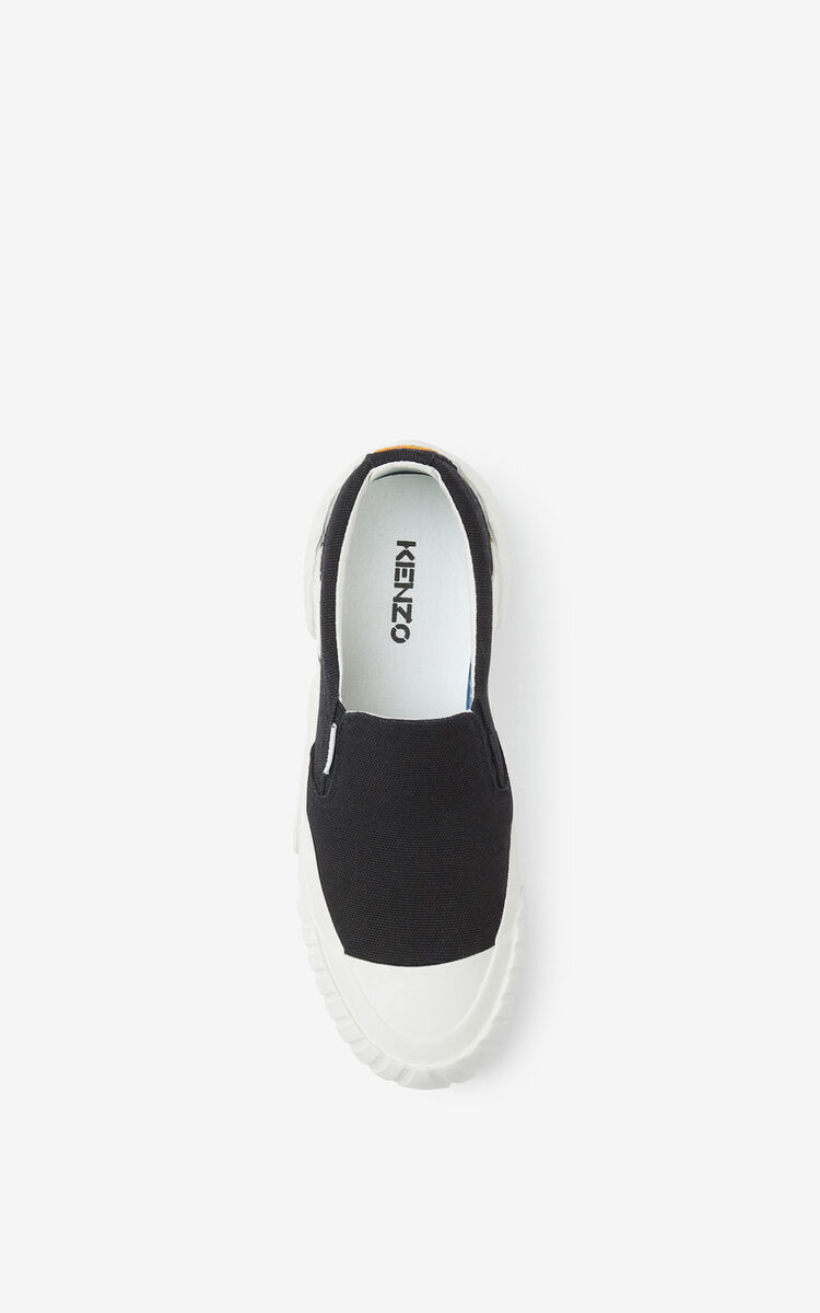 BLACK Slip-on canvas Tiger Crest trainers for unisex KENZO