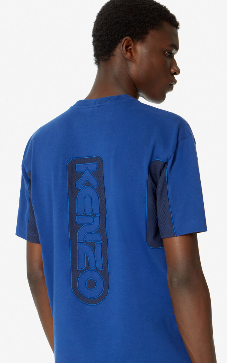 NAVY BLUE Dual-material T-shirt for men KENZO