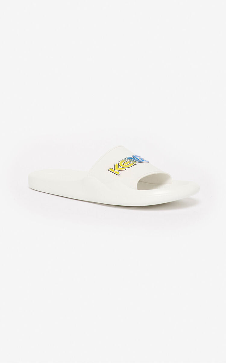 WHITE 'Wetsuit' pool mules for women KENZO