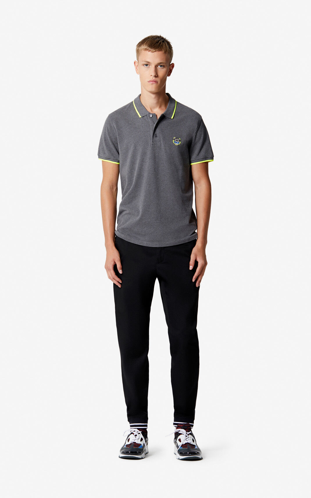 DARK GREY Adjusted Tiger Polo for men KENZO