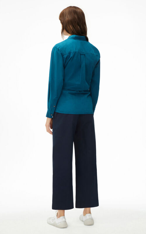 MIDNIGHT BLUE Long knotted shirt for women KENZO