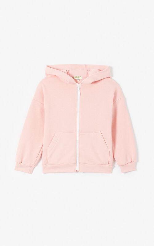 FLAMINGO PINK KENZO logo zipped jacket for women