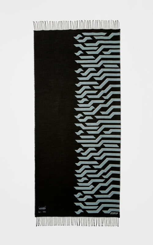 BLACK Geo Tiger Wool Scarf for unisex KENZO