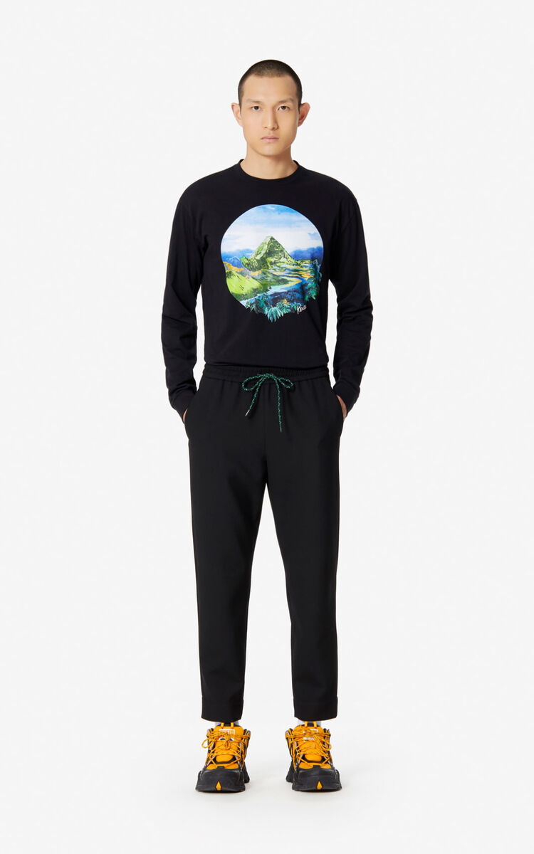BLACK 'Painted landscape' T-shirt for men KENZO