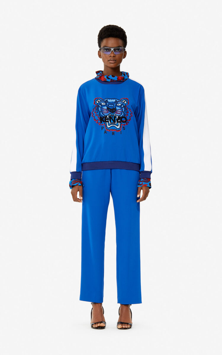 SLATE BLUE Crepe Tiger top for women KENZO
