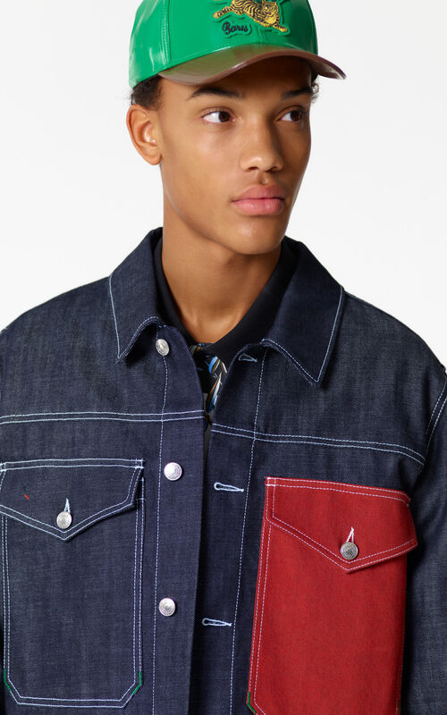 NAVY BLUE Cropped denim jacket for men KENZO