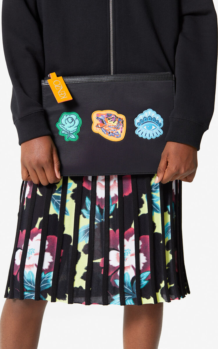 BLACK A4 multi-icon clutch 'Go Tigers Capsule' for unisex KENZO