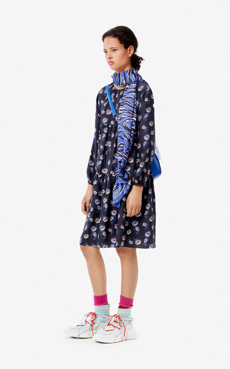 BLACK 'Passion Flower' silk dress for women KENZO