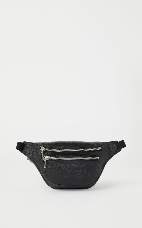 BLACK KENZO Imprint grained leather belt bag for unisex
