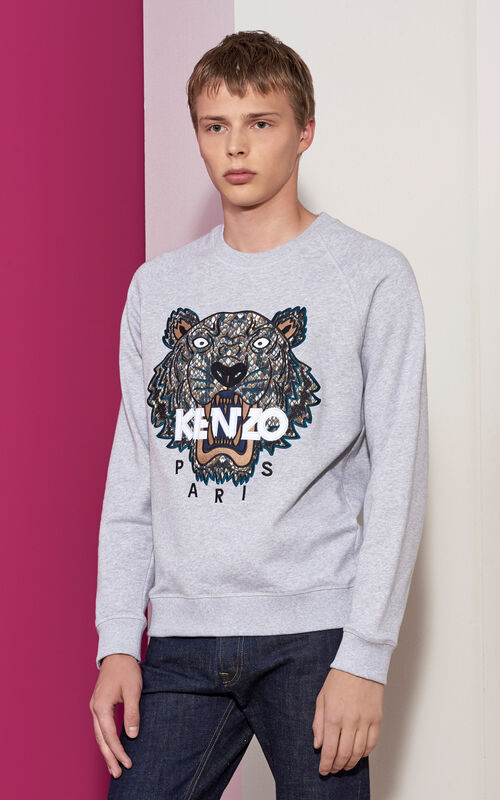PALE GREY Tiger x Snake Sweatshirt for women KENZO
