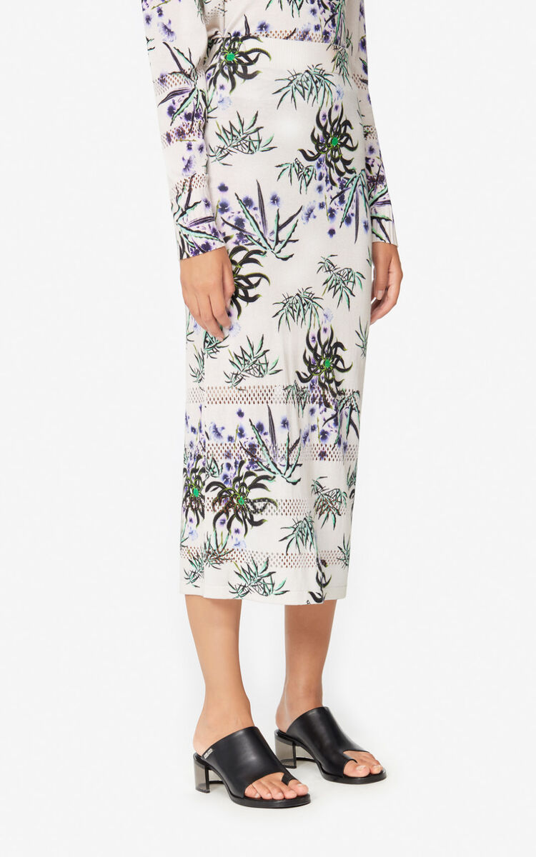 ECRU 'Sea Lily' knit midi skirt for women KENZO