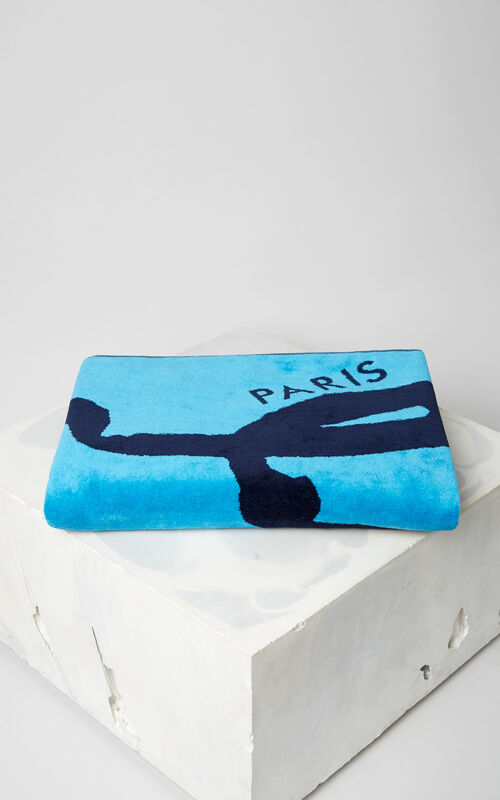 TURQUOISE KENZO Signature beach towel for men