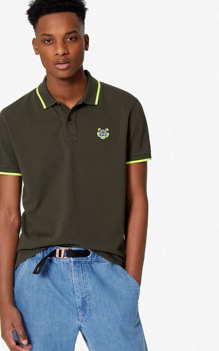 DARK KHAKI Fitted Tiger polo shirt for men KENZO