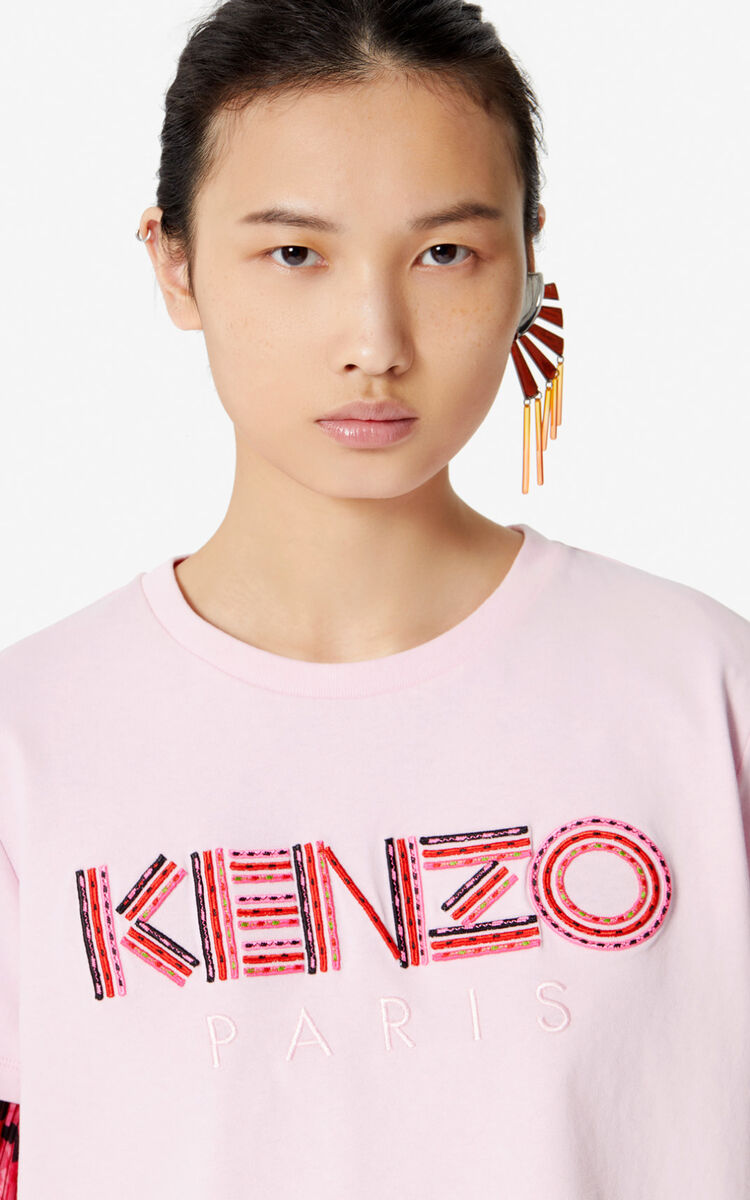 PASTEL PINK Embroidered KENZO Paris t-shirt for women