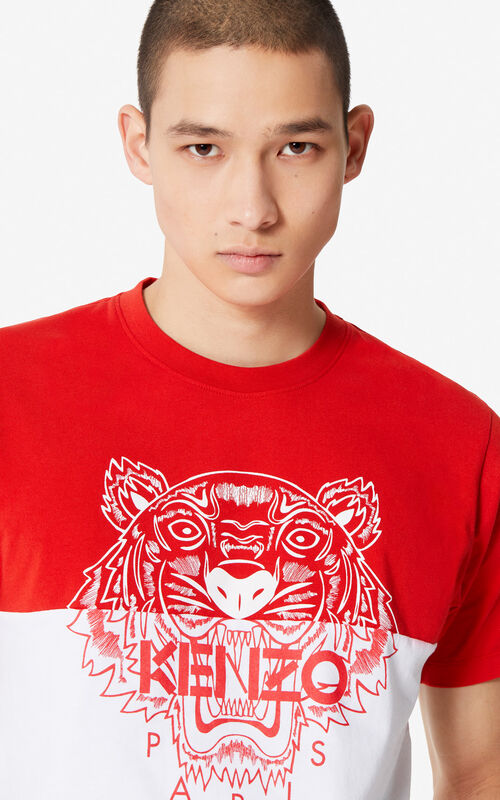 79d1228cd202 MEDIUM RED 'Colorblock Tiger' t-shirt for men KENZO ...