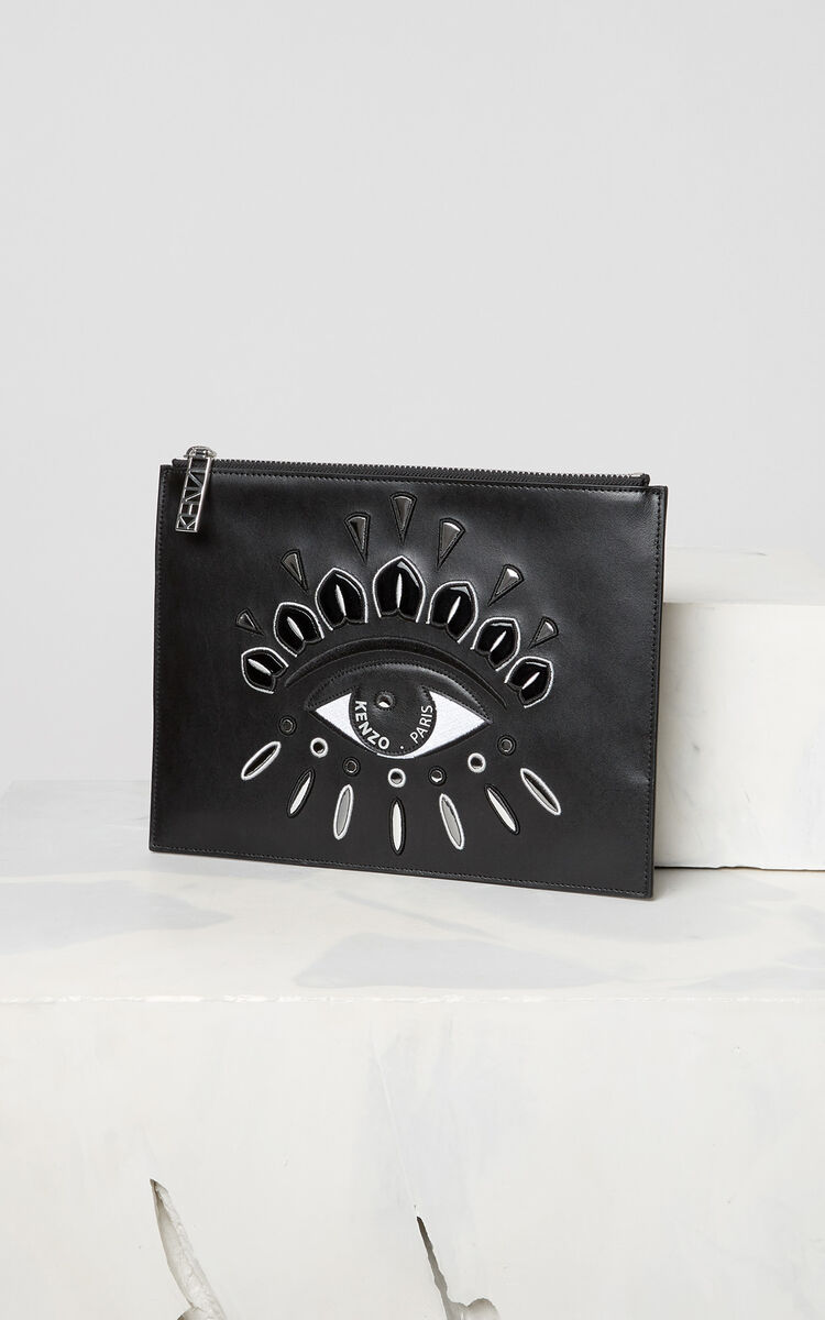 BLACK A4 Eye clutch in leather for women KENZO