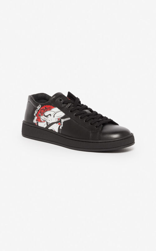 BLACK 'Chinese New Year Capsule' 'Kung Fu Rat' Tennix trainers for unisex KENZO