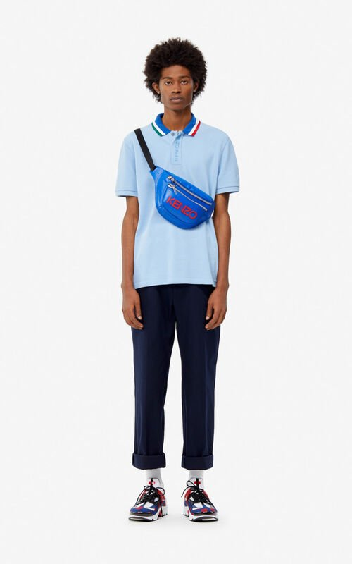 SKY BLUE Fitted colorblock polo for men KENZO