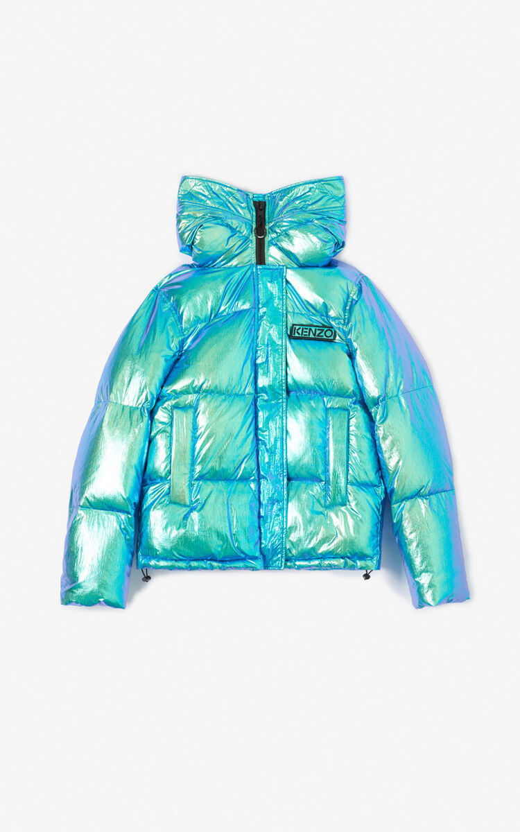 TURQUOISE Hooded quilted jacket for women KENZO