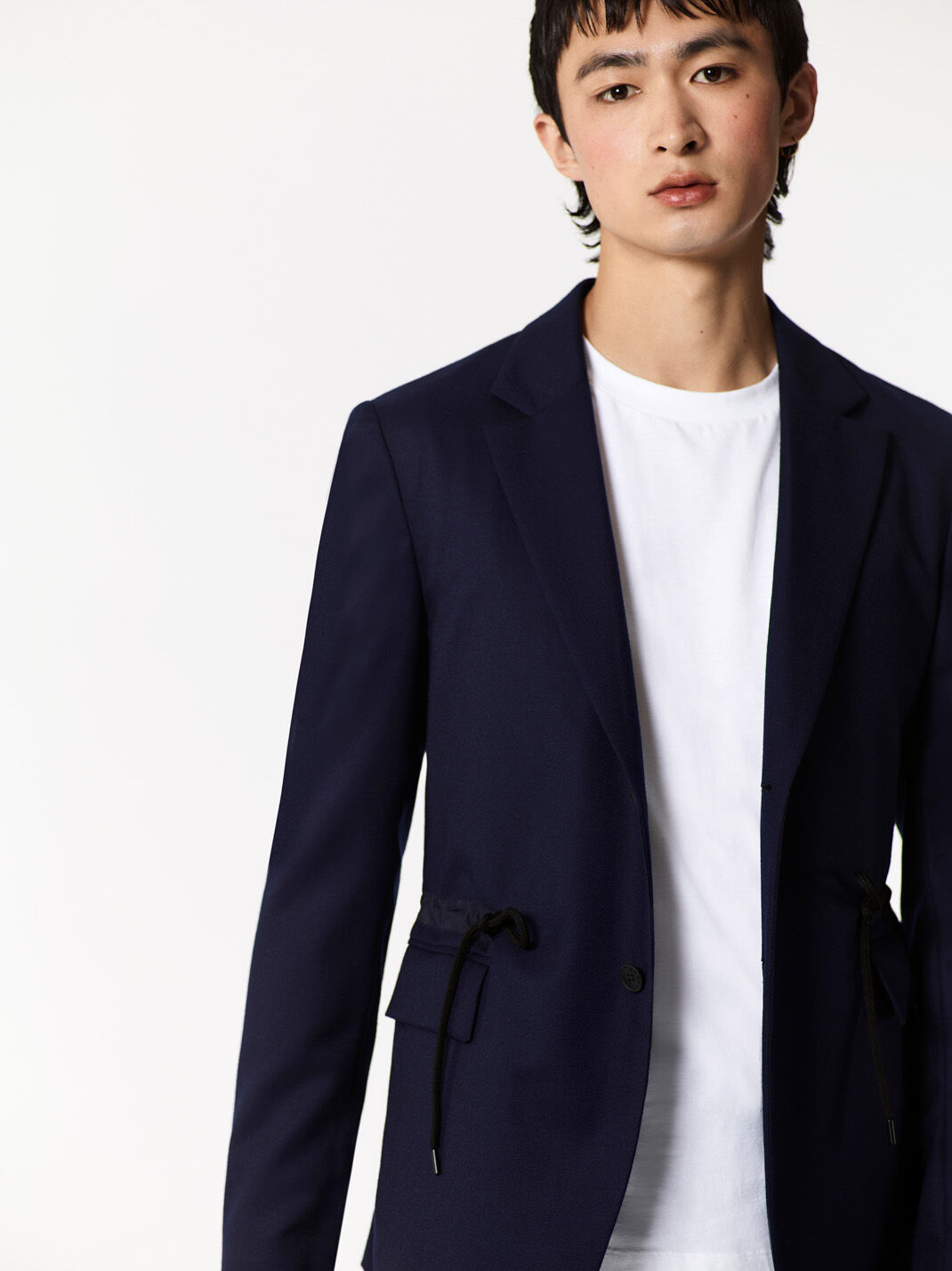 NAVY BLUE Drawstring Blazer in Flannel for men KENZO