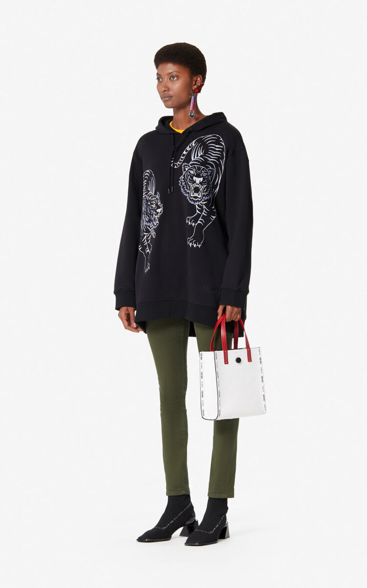 BLACK 'Double Tiger' hoodie for women KENZO